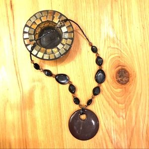 Brown Beaded Statement Necklace